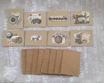 Set of 8 small cards simple vintage + envelopes - set # 1