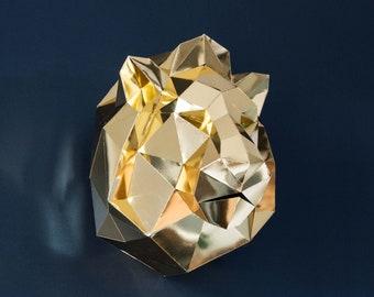 Papercraft Lion, Papercraft 3d, DIY KIT, 3d wall art, diy kit lion, Golden mirror, Papercraft kit lion, Paper trophy lion, Interior design.