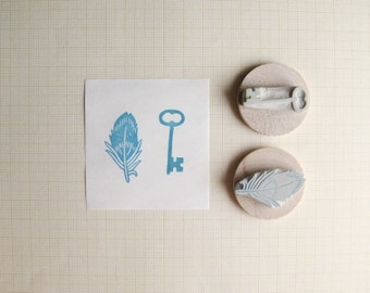 Tiny Key + Feather Hand Carved Stamp Set
