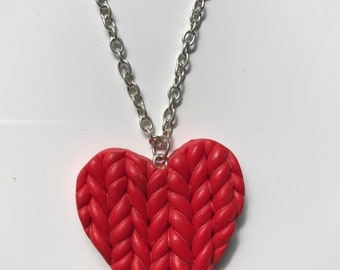 Braided heart polymer clay necklace