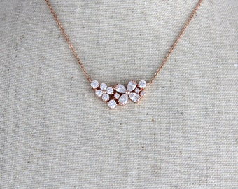 Rose Gold necklace, Bridal jewelry, Bridal necklace, Bridesmaid necklace, Rose Gold jewelry, Wedding necklace, Charm necklace, Bridal Party