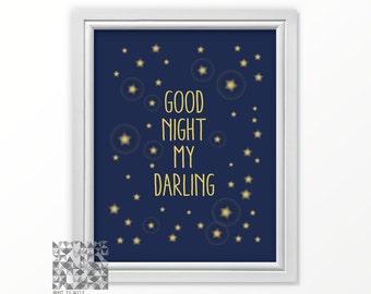 Good Night print nursery art digital print nursery print good night my darling wall art nursery decor nursery love print love art blue print