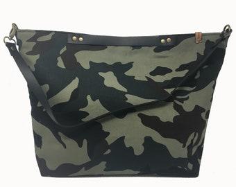 Camo  tote bag, shoulder bag, Green-black-brown, Gift for her, Summer Tote Bag