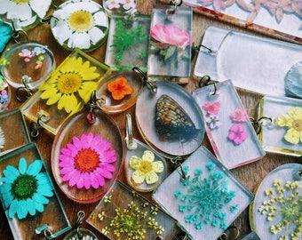 Genuine Botanical Specimen Preserved in Resin Pendant Necklace
