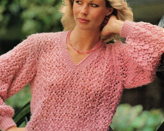 Ladies Lacy V Neck Sweater, Knitting Pattern. PDF Instant Download.