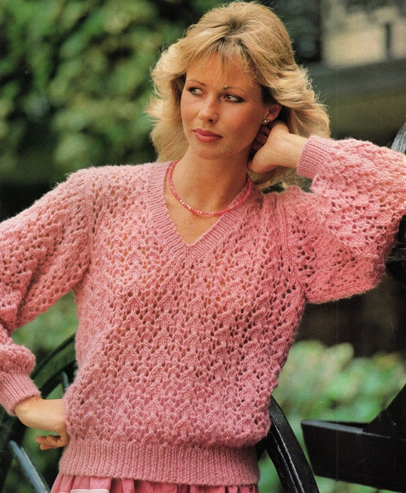 Ladies Lacy V Neck Sweater Knitting Pattern Pdf Instant Download