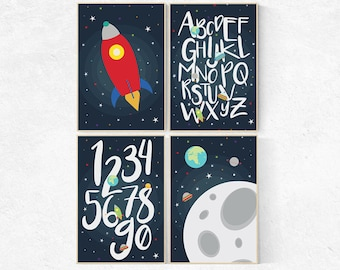 Space Nursery Decor, alphabet nursery Art, alphabet letters, ABC nursery toddler space themed nursery wall art, nursery decor boys space