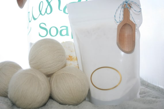 Set of 4 100% Natural Wool Dryer Balls infused with Lavender essential oil