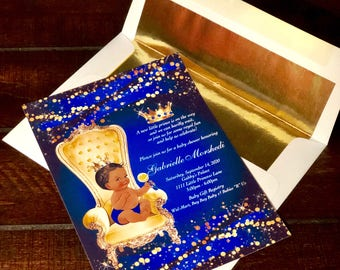Royal Blue Prince, Prince, Gold, Blue, Glitter, Royal, Baby Shower, Birthday Party Invitation - Printable or Printed