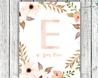 Nursery Art Monogram, Floral Wreath, Water Color, Baby Girl, Personalized, Digital Download Size 8x10 #1