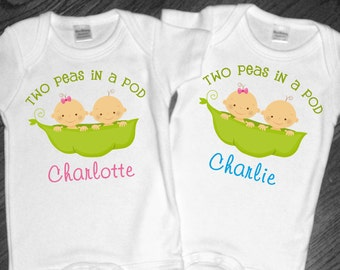 Set of 2 Personalized Two Peas in a Pod Shirts or Bodysuits for Twins - any gender combination available