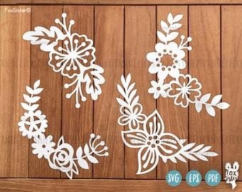 SVG Bundle! | 4 Floral SVG / PDF Papercut Templates | cut file | scrapbooking | card making | papercut template | Cricut, Silhouette