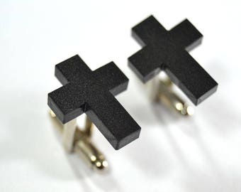 Minimal Black Cross cufflinks gift for him groomsman- geometric minimal cuff links