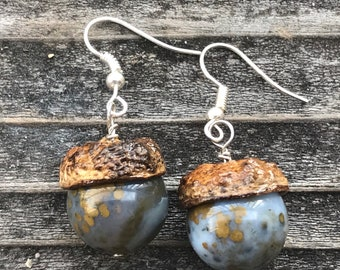 acorn top and ocean jasper silver earrings