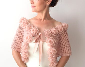 Mohair wrap, bridal capelet, rose cape, champagne shawl, wedding poncho, winter wedding, crochet flower capelet, pale pink, fast shipping