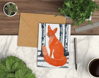 Fox greetings card, fox Christmas card, fox card, linocut card, cute fox card, fox animal card, blank card fox, blank animal cards, foxlove