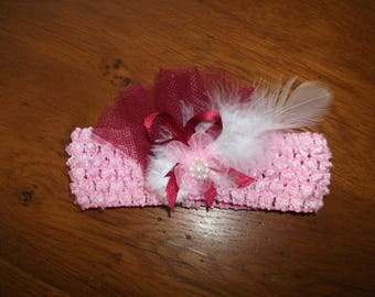 Headband - stretch headband - baby 0/36 month reborn - Newborn - Doll - new - pink decorated with feather, tulle Ribbon