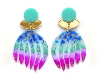 Laser Cut Acrylic Earring Gold Statement Earrings Purple Earring Perspex Earrings Resin Earrings Turquoise Blue Earring Glitter Earring