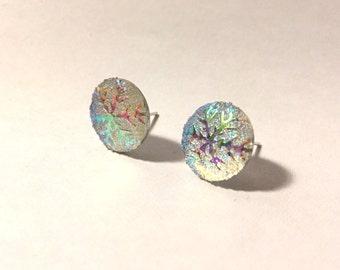 Vintage iridescent glitter snowflake earrings