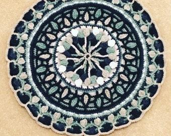 Crochet mandala wall hanging, boho wall hanging, woven wall hanging, hippy decor, bohemian decor, dream catcher, fiber art