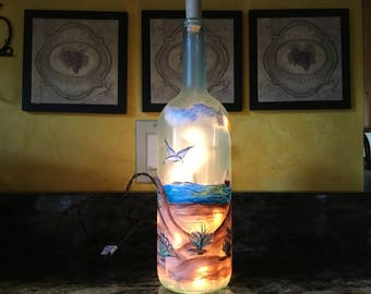 1.5 Ltr Lighted Wine Bottle /  Beach Scene With Dunes And Seagulls