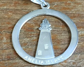 Amelia Island Lighthouse Sterling Charm