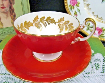 Aynsley Tea Cup and Saucer Orange & Gold Gilt Oban Shape Teacup Pattern