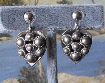 Screwback  Heart Shaped Vintage Sterling Earrings Taxco Style/ Danish Modern Style
