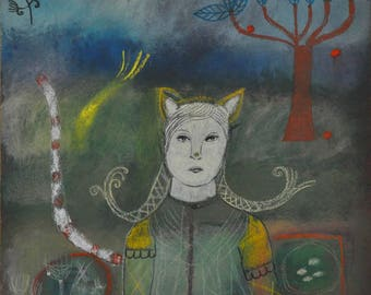 """Original painting """"She Stood in Front of a Cat"""""""