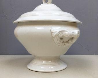 Antique French Ironstone Tureen soupiere. Soup Dish Jardiniere Planter. Antique Ivory Porcelain so elegant