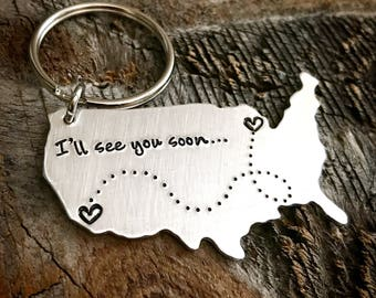 Long Distance Gift Long Distance Friendship Gift Best Friends Gift State Keychain Going Away Gift BFF Gift Mothers Day Gift wanderlust gift