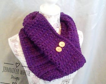 Lakeside Cowl Crocheted Scarf Chunky Button Neck Warmer in Purple Plum