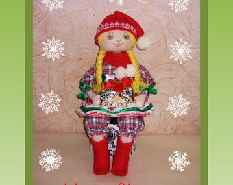 Magic doll Gnome girl Rag doll Hand painted face Author doll gift for girl Tilda doll Cloth doll Handmade Doll in red Gift for daughter's