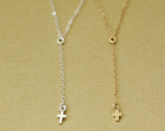 Extra Long Delicate Rosary Y Necklace with Tiny Cross Charm