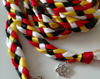 Black, White, Red, Yellow Handfasting Ceremony Braid- Celtic Heart Knot- 6 or 9 feet- Fast Shipping-Wedding- 4 Strand- Braided Together