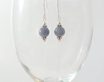 Blue Aventurine Earrings Blue Gemstone Earrings Blue Bead Earrings Dusty Blue Drop Earrings Blue Gray Earrings Silver Blue Drop Earrings