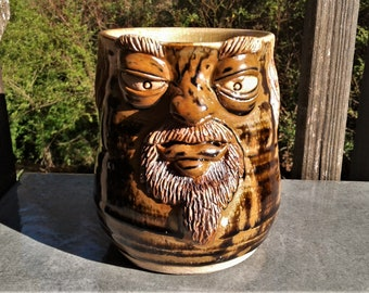 MUG: Brown and Black Face Mug with Goatee  | Wheel Thrown Hand Sculpted  Stoneware Pottery Face Mug | #21