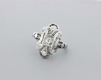 Diamond Filigree Swirl Ring 14K Gold