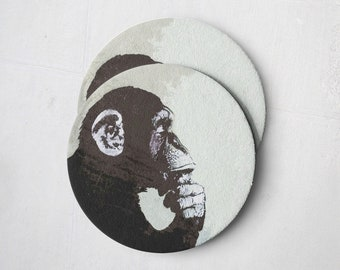 Banksy Drink Coasters – Absorbent Coaster Set of 10 – Coasters for Women & Men – Heavyweight Reusable Thick Pulpboard - Thinking Monkey
