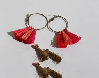 Kit 2 in 1 Pompom earrings pink and gold
