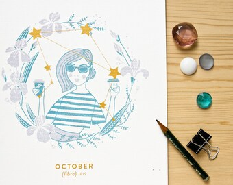 Libra Constellation Print with gold details