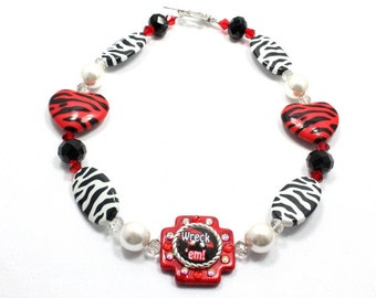 Texas Tech Chunky Necklace, Wreck em, Red Raiders, Spirit Necklace, School Necklace, Graduation Gift