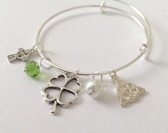 Irish Charm Bracelet/Silver Clover Bracelet/Silver Celtic Cross Bracelet/Celtic Knot Bracelet/Irish Pearl Bracelet/Irish Green Gemstone