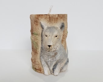 Fox Cylinder Candle - Paraffin Candle - Handmade Candle - Animal Candle