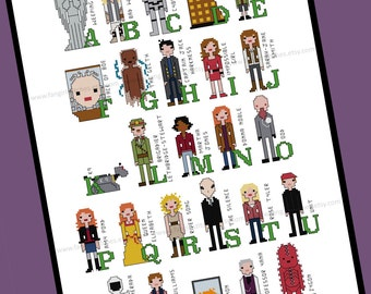 Doctor Who inspired Alphabet of Characters Cross Stitch - PDF Pattern - INSTANT DOWNLOAD