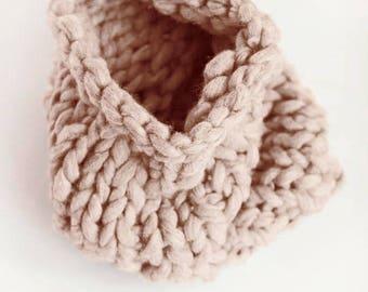 Chunky Knit Cowl Neckwarmer | THE WEARABLE HUG | Dusty Rose | Mink