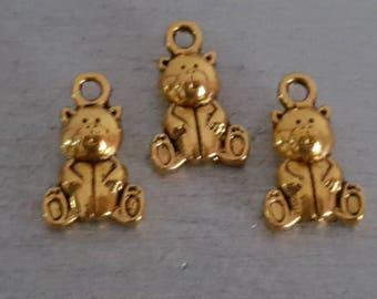 10 charm, gold bear pendant bear pendant 15 x 10 mm