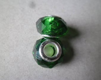 x 2 green core lampwork faceted glass beads silver 14 x 10 mm