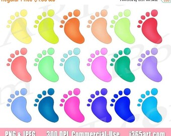 50% OFF Baby Foot Clipart, Baby Foot Clip art, Baby Footprints, Baby Feet, Baby Showers, Scrapbooking, Party Invitations, Commercial