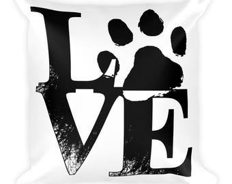 Love Paw Print - Square Pillow